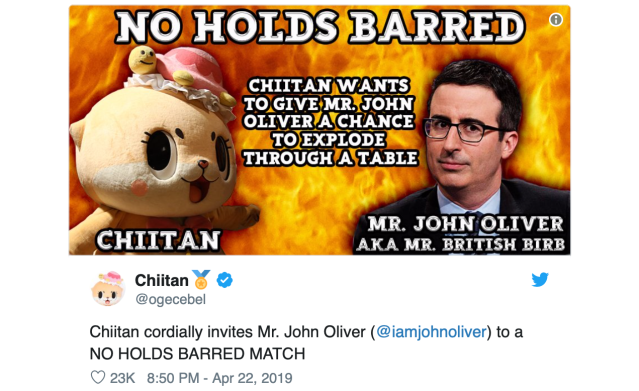 Chiitan vs John Oliver: Talk show host responds to Japanese mascot's challenge to battle 【Video】