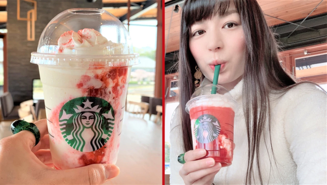 Starbucks Japan's pre-hashtagged strawberry sibling Frappuccinos are ready for their taste tests