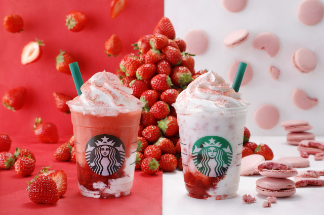 Starbucks Japan's new strawberry Frappuccinos are so social media-savvy their names are hashtags