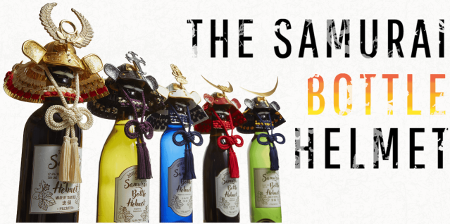 Samurai Bottle Helmets are here to fiercely and elegantly adorn your bottles of booze