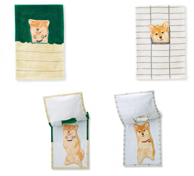 Peek-a-boo Shiba Inu towels from Japan celebrate their best trick: Getting stuck in silly places