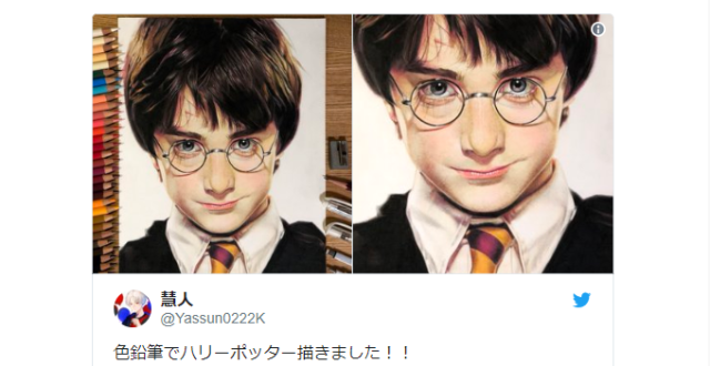 This isn't a Harry Potter photo – it's an incredible colored pencil portrait from a Japanese fan!