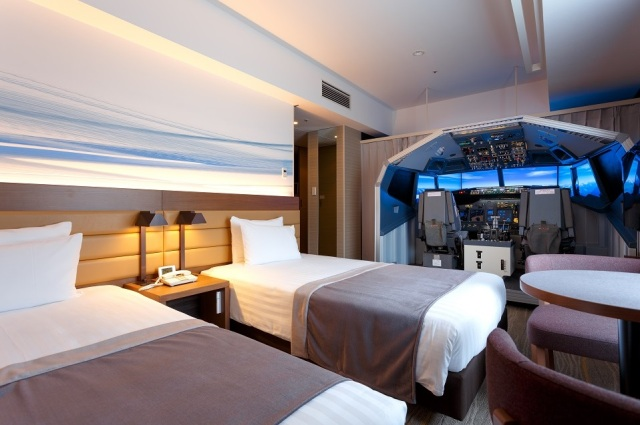 Flight simulation cockpits installed into Haneda Airport hotel lets you fly your rooms away