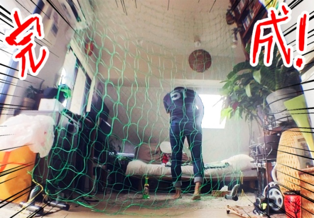 Go Hatori turns his small Japanese apartment into a batting cage for only 500 yen