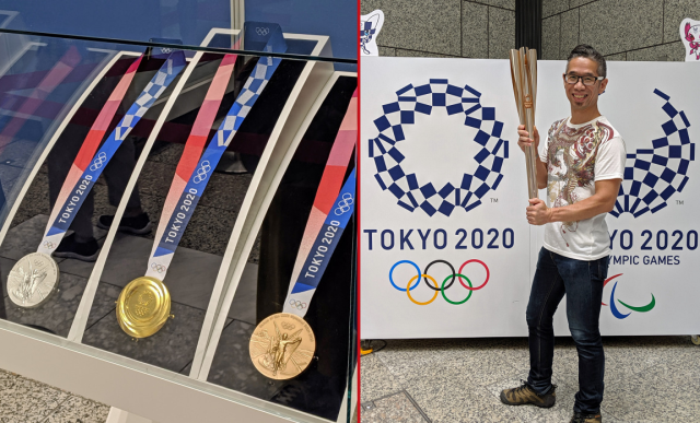 Olympic medals and torch display held in Tokyo for a very limited time