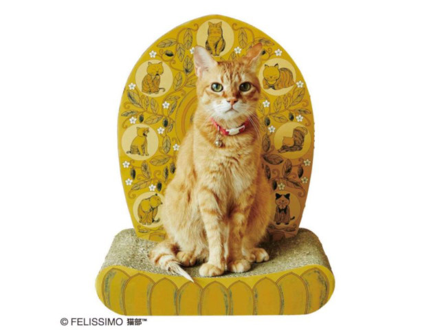 "Help your kitty reach enlightenment with Felissimo's new Buddhist statue-style ""halo scratcher"""