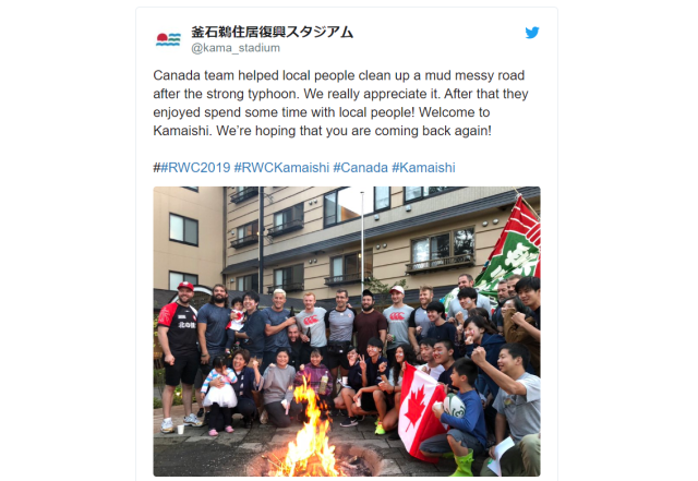 Canadian rugby team volunteers in typhoon-struck Japan following cancellation of World Cup match