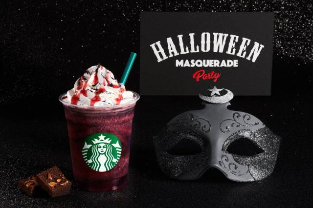 New Starbucks Dark Night Frappuccino debuts at sunset with cup cosplay costumes for Halloween