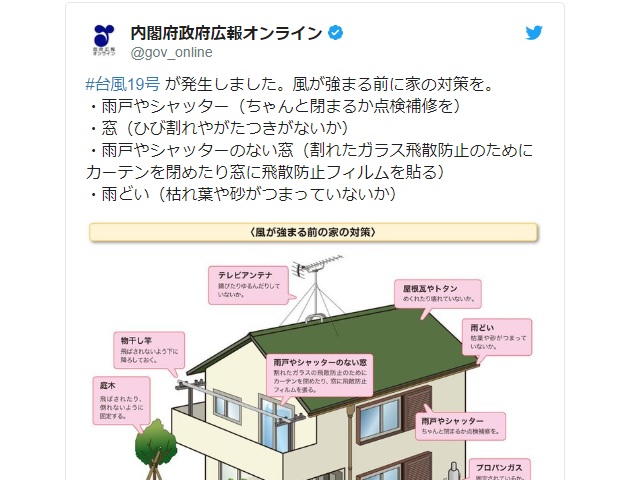Japanese government releases checklist to help people protect their homes against Typhoon Hagibis
