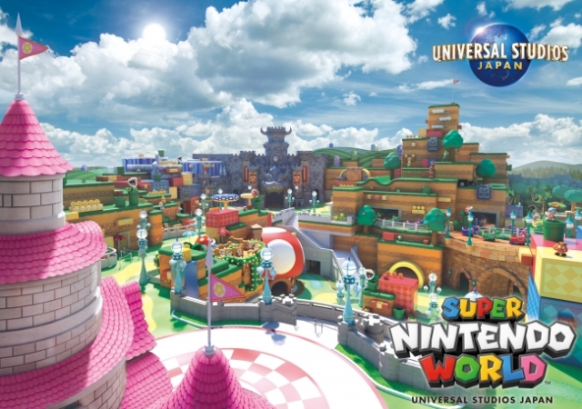 New visual unveiled for Universal Studios Japan's Nintendo World shows a pixel-perfect panorama