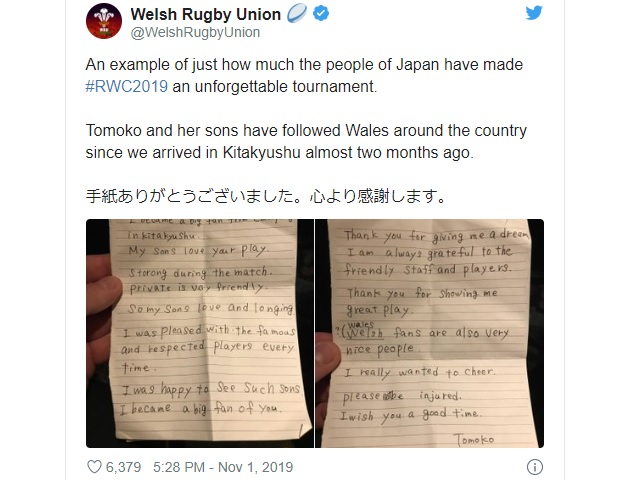 Welsh rugby team wins over the heart of Japanese mom, receives sweet handwritten note from her