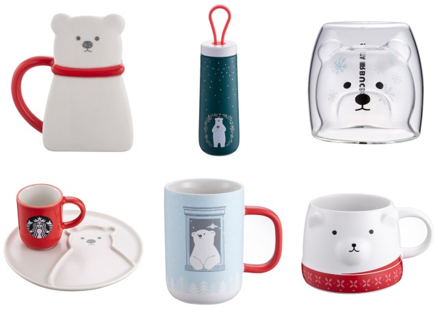 Starbucks releases limited-edition polar bear mugs, glasses, tumblers and plates in Taiwan