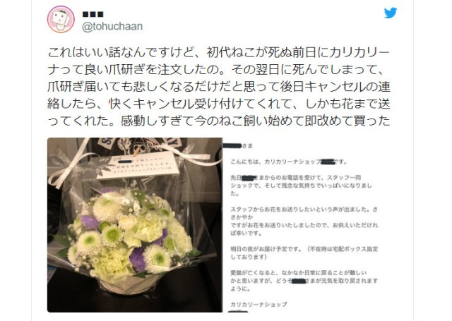A company that sends flowers when your cat passes away? Japanese Twitter touched by sweet story