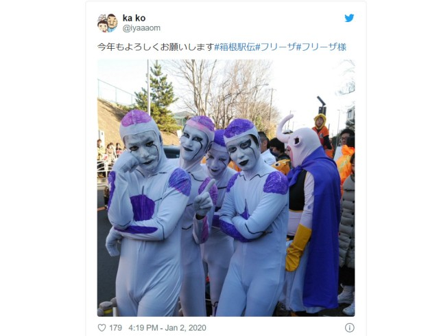 "Gaggle of Friezas support runners for Hakone marathon once again, this time dancing ""Paprika"""