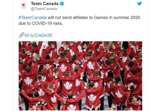 Tokyo Olympics loses first participant as Canada withdraws from Games over coronavirus concerns