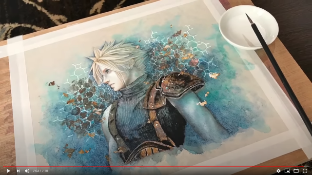 Japanese artist paints Cloud from Final Fantasy VII Remake using traditional methods【Video】