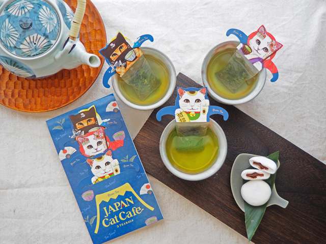 Ninja and geisha green tea cats are here to keep you company during your at-home tea time