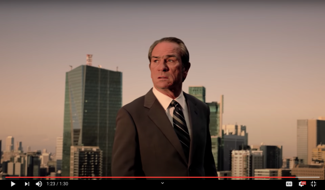 During trying times, receive comfort and advice from Boss coffee's poster boy Tommy Lee Jones