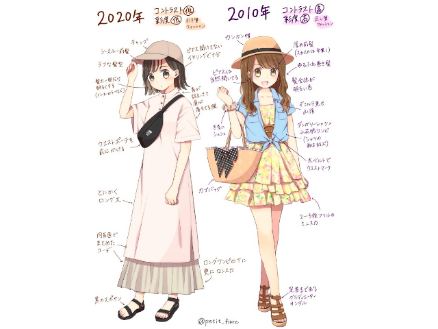Anime artist illustrates the differences between Japanese fashion now and ten years ago