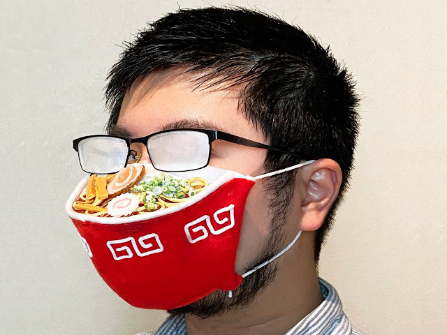 Ramen face mask from Japan fogs up your glasses, looks like a steaming hot bowl of noodles