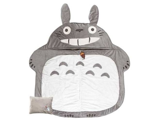 Is there any better place for a nap than inside a fluffy Totoro sleeping bag?
