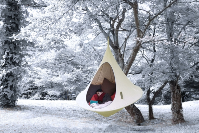 Become a bear and 'hibernate' in the woods with this private hammock tent