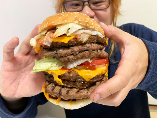 Combining two of Burger King's one-pound beef burgers for an extreme fast food challenge