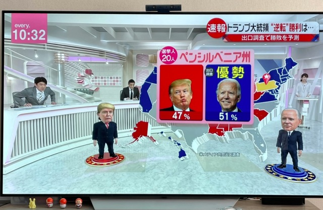 Donald Trump and Joe Biden chibi mascot characters win fans during results coverage in Japan