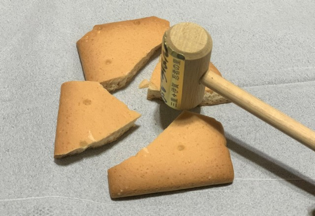 We smash up some rock-hard rice crackers with a hammer to find out which one is the toughest