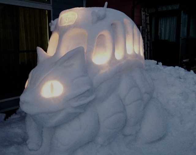 Master anime snowman builder in Japan makes snow Catbus and Pokémon team【Photos】