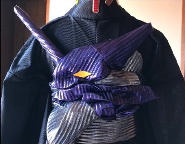Kimono genius turns obi sash into the head of Evangelion Unit-01【Photos】