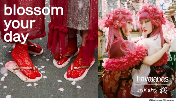 Sakura Havaianas on sale in Japan, modelled by twin sister musicians