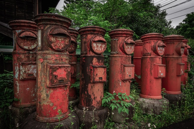 Compellingly creepy collection of retro mailboxes stands in rural Japanese town【Photos】
