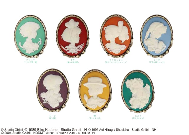 Japan's Studio Ghibli store now sells gorgeous cameo brooches of heroines like Kiki and Sophie