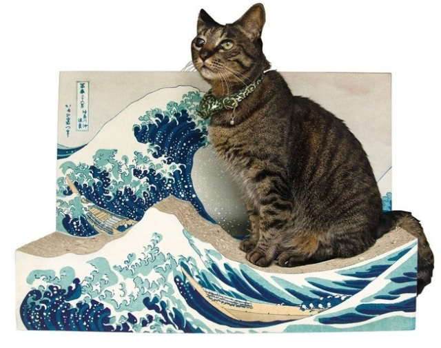 Give your cat culture and class with a beautiful ukiyo-e painting that's also a scratching post