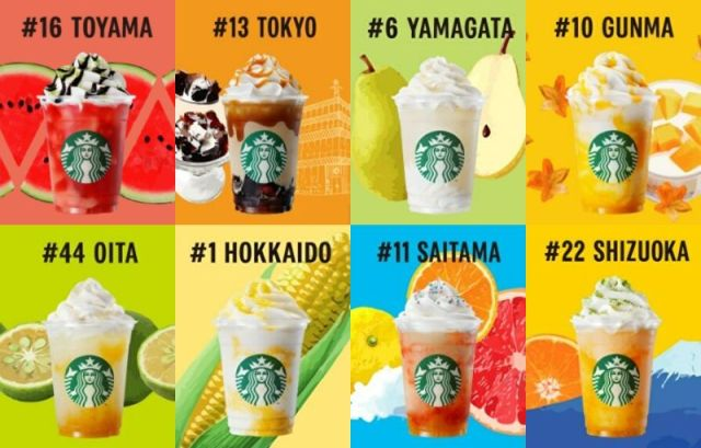All 47 Starbucks Japan's local Jimoto Frappuccinos, ranked by calorie count, plus what each one is