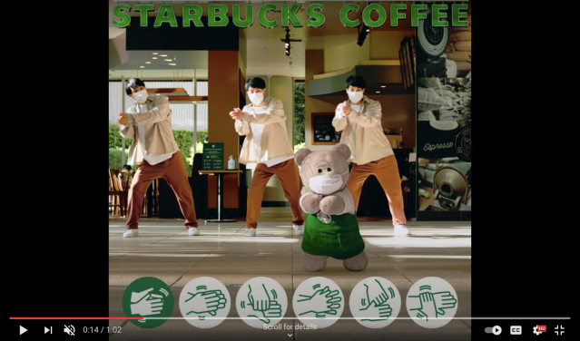 Starbucks COVID-19 safety video features a synchronized performance by gymnastic Sato Triplets