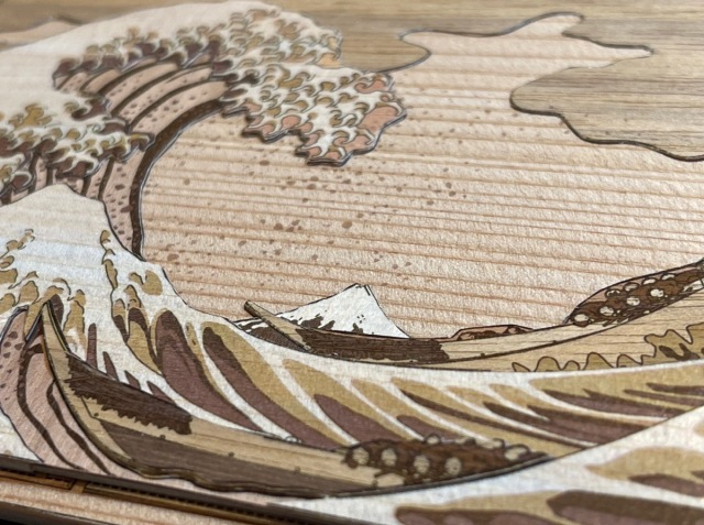 We make a gorgeous wooden art display piece out of Hokusai's Great Wave