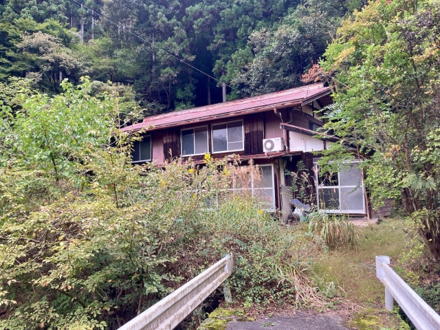 Searching for treasure in the river at our cheap countryside house in Japan